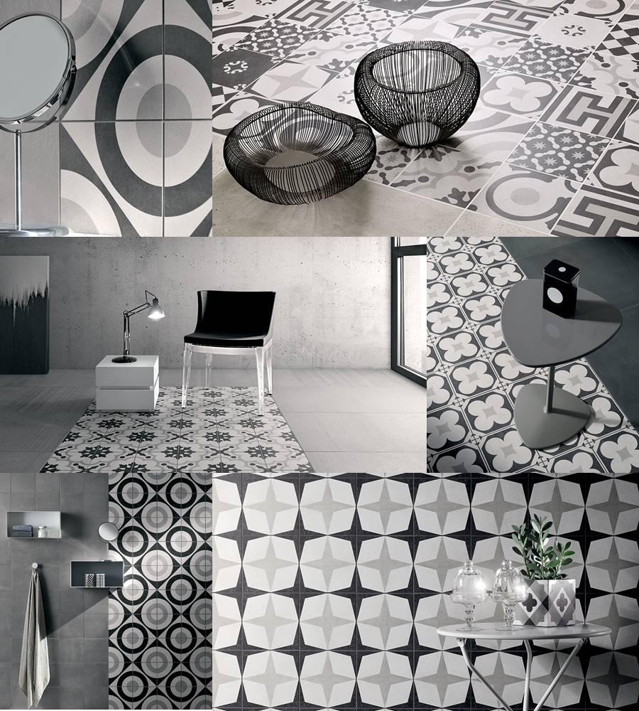 pavimentos porcelanicos baratos, Ceramica Fioranese Serie Cementine Black White