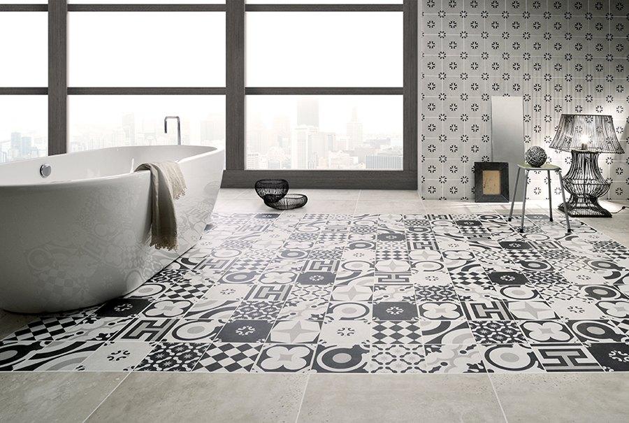 Revestimiento y pavimento baño, Ceramica Fioranese Serie Cementine Black White, Tono Bagno, Barcelona