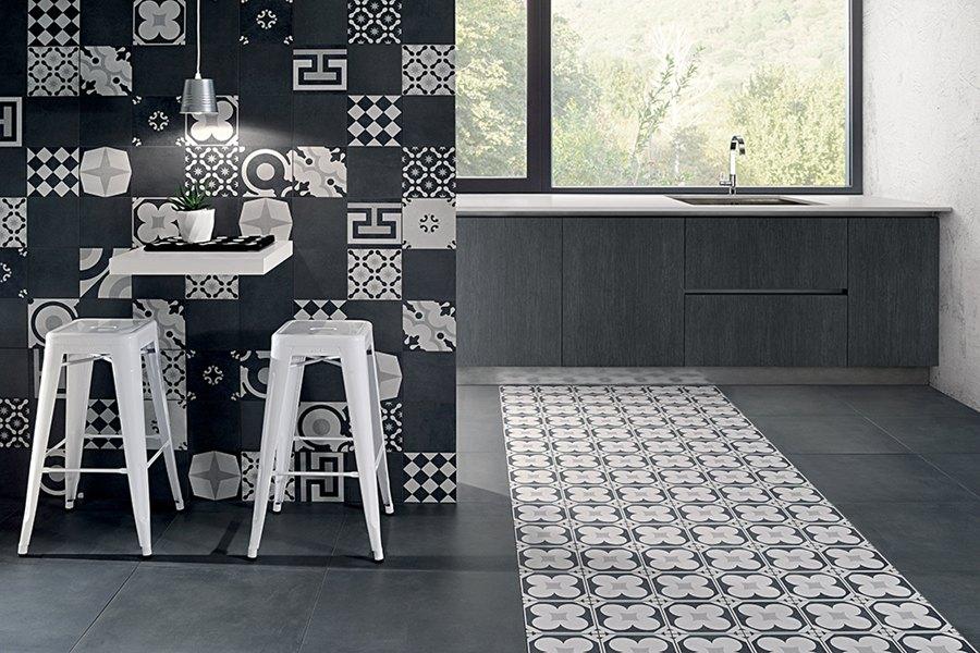Revestimiento y pavimento cocina, Ceramica Fioranese Serie Cementine Black White, Tono Bagno, Barcelona