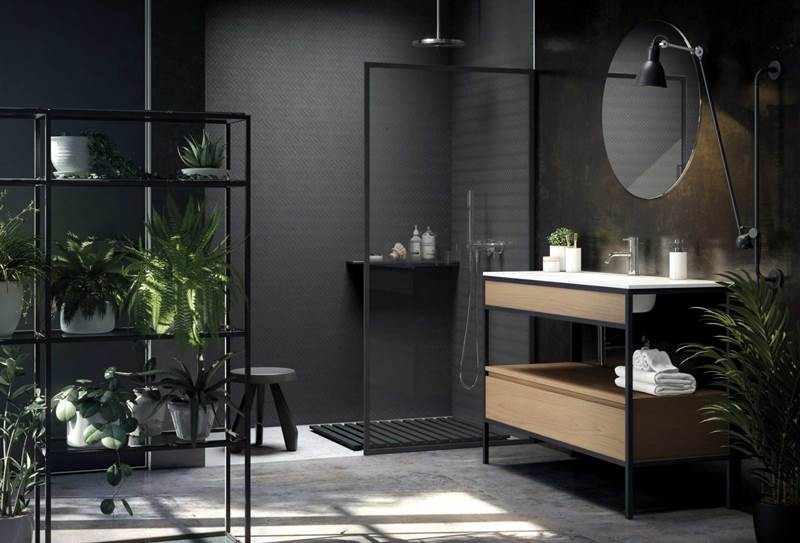 tienda de mamparas ducha y baño barcelona, baño estructura metal unibano (1)