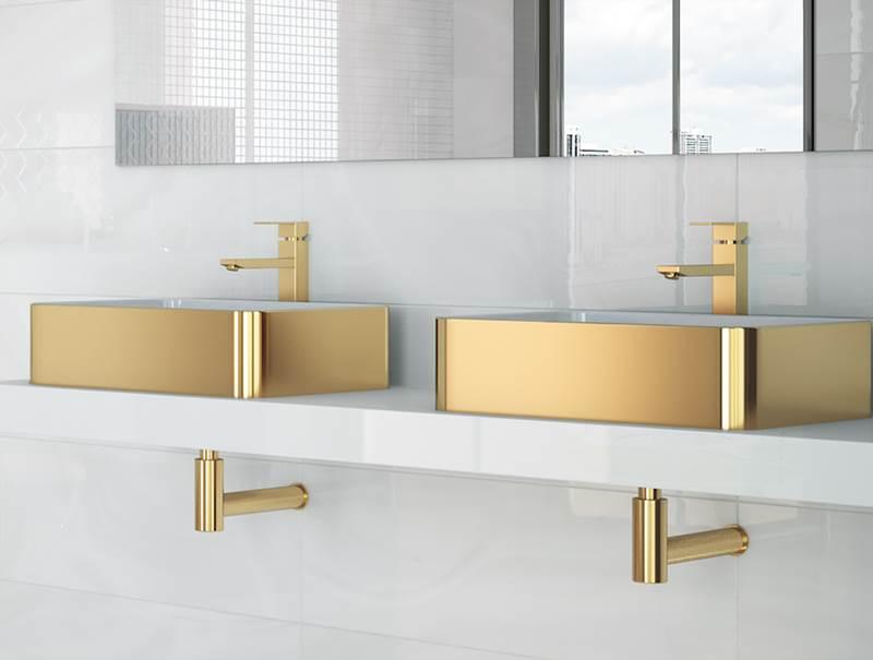 baños acabado oro, lavabos acabado oro