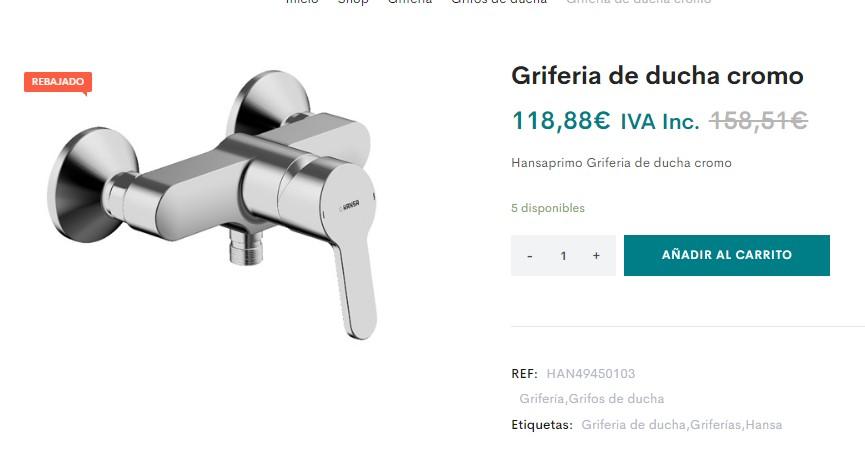 grifos para ducha oferta, oferta griferias de ducha, outlet griferia